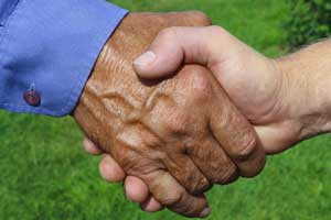 handshake in field